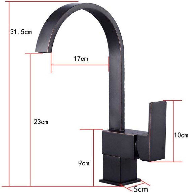 GONGFF Wasserhahn Europischen schwarzen Spülbecken Waschbecken Wasserhahn quadratische Platte heien und kalten Küchenarmatur