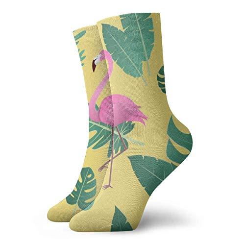 huatongxin Flamenco amarillo y hojas Calcetines cortos para adultos Calcetines clásicos de algodón para hombres Mujeres Yoga Senderismo Ciclismo Correr Fútbol Deportes
