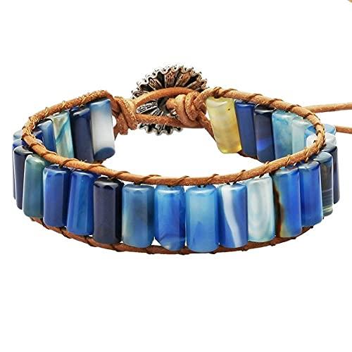 Agata Tube Beads Cuero Cuerda Envoltura Pulsera Joyería Hecha A Mano para Mujeres Hombres-Ágata azul teñida