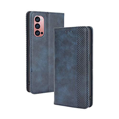 GOGME Leder Hülle für Oppo Reno 4 Pro 5G (Reno4 Pro 5G) Hülle, Premium PU/TPU Leder Folio Hülle Schutzhülle Handyhülle, Flip Hülle Klapphülle Lederhülle mit Standfunktion und Kartensteckplätzen, Blau