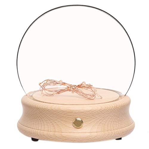 Solid Wood Bluetooth Muziek Box Transparant Glas Lampenkap Met Nachtlampje Opladen Muziekdoos Valentijnsdag/Kerstmis/Verjaardagscadeau