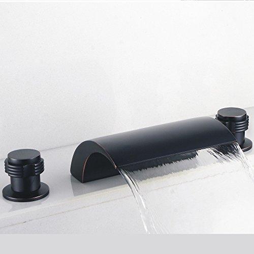 Hiendure Solid Brass Two Handle Widespread Flexible Deck Mounted Bathroom Bath Tub Faucet Waterfall Bath Shower Faucets Vessel Sink Plumbing Fixtures