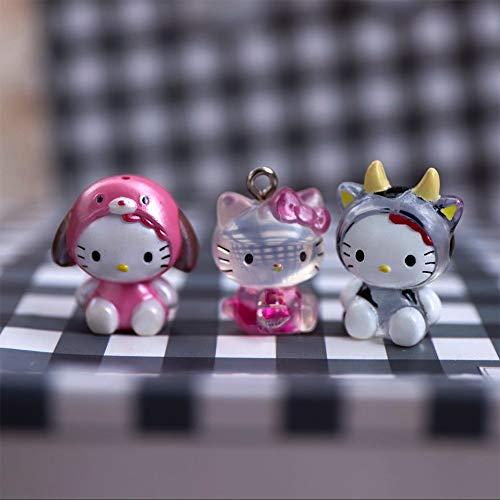 weichuang Peluche Toys 1 mini figura de Hello Kitty decoración linda muñeca modelo, juguetes de peluche de 2 cm (color: 1 unidad al azar)