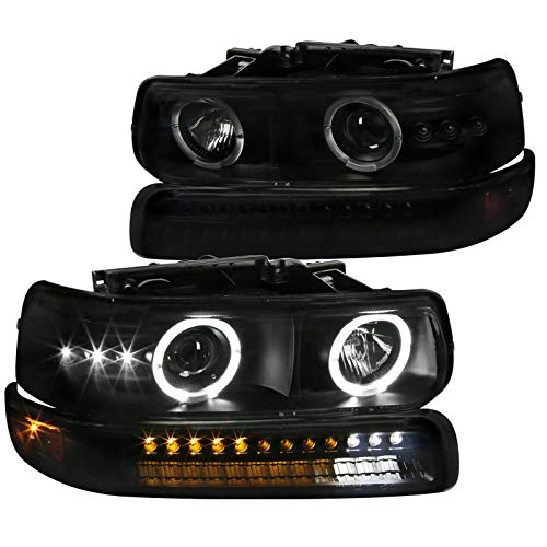 Spec-D Tuning Smoke Lens LED Halo Projector Headlights + LED Bumper Lights for 1999-2002 Chevy Silverado Head Light Turn Signal Parking Lamps L+R Pair
