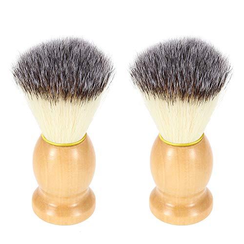 SourceTon - Brochas de afeitar de nailon, 2 paquetes de brochas de afeitar con mango de madera, herramienta profesional de lujo para hombres
