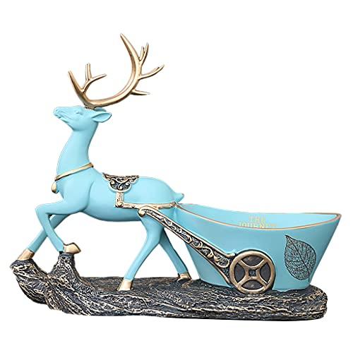 MagiDeal Ciervo escultura llave gancho de almacenamiento resina hecho a mano Navidad Reno llavero soportes soporte para la decoración de la oficina en casa - C