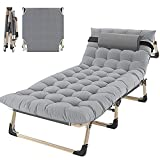 Portable Folding Camping Cot, Adjustable 4-Position Adults Reclining Folding Chaise with Pillow, Outdoor Portable Folding Lounge Chair Sleeping Cots Bed, Perfect for Camping, Pool, Beach, Patio