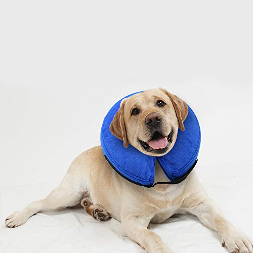 E-KOMG Dog Cone After Surgery, Protective Inflatable Collar, Blow Up Dog Collar, Pet Recovery Collar for Dogs and Cats Soft (Large(12'-18'), Blue)