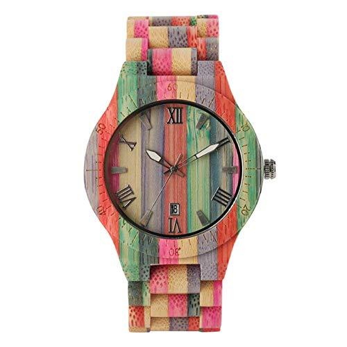 DZNOY Reloj de Madera Relojes de bambú de Cuarzo de Las Mujeres Reloj de Madera para Las Mujeres Relojes de Las señoras Pulsera Natural Hecha a Mano Reloj de Pulsera analógica Reloj de Bolsillo