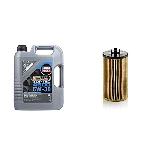 LIQUI MOLY 3756 Top Tec 4600 Motoröl 5 W-30 5 L & MANN-FILTER HU 612/2 x Ölfilter, Für PKW