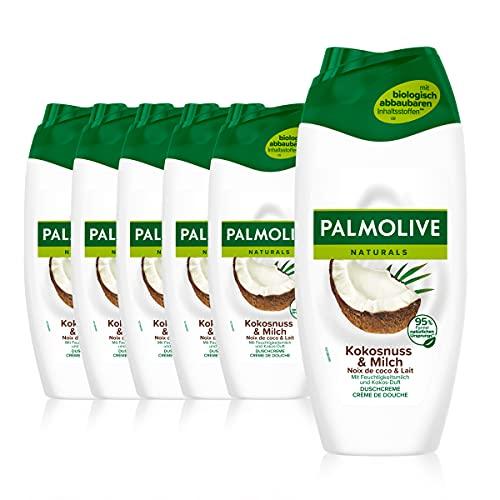 Palmolive Duschgel Naturals Kokosnuss & Milch, 6 x 250ml - Cremedusche mit Feuchtigkeitsmilch und Kokos-Duft