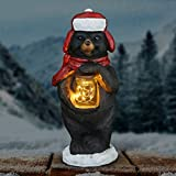 Exhart Outdoor Christmas Decorations – Bear Holding Jar of Fireflies w/Timer – Lights Up Hand Painted Outdoor Christmas Lights for Garden, Farmhouse Holiday Decor or a Rustic Christmas Fireplace