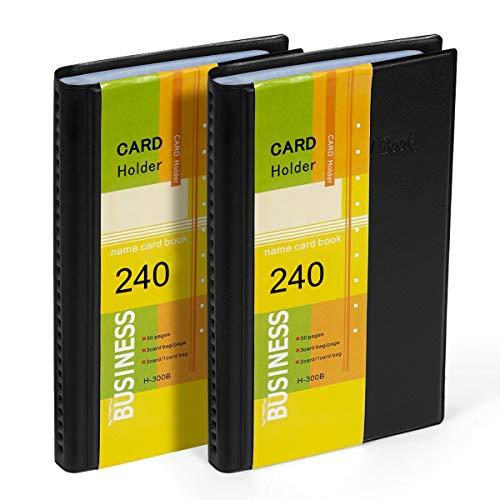 Hamosky Business Card Holder Organizer Book - Pu Leather, 2 Pezzi Totali Per 240 Biglietti Da Visita (240Pcs X 2Pack)