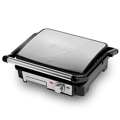 SOGO SS-7131 - Piastra liscia elettrica per panini, 2000 W, superficie 28 x 22 cm, con piastre antiaderenti e apertura a 180°, colore: argento