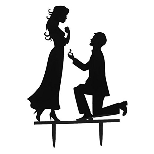 WINOMO Braut und Bräutigam Hochzeitskuchen Party Dekoration (schwarz)