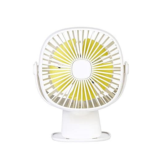 Mini Ventilador Clip, Ventilador de Escritorio con Iluminación LED USB Activado Silencioso Pequeño Personal Portátil 360 Grados de Rotación 4 Velocidades para Oficina Hogar Cochecito de Bebé-blanco