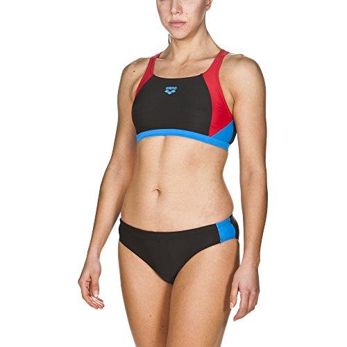 arena Damen Sport Bikini Ren (Schnelltrocknend, UV-Schutz UPF 50+, Chlor-/Salzwasserbeständig), Black-Red-Pixblue (504), 38
