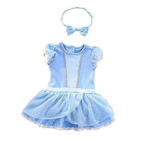 Lito Angels Niñas Bebé Disfraz de Princesa Cenicienta Vestido de Romper el Pijama Mono Cumpleaños Navidad Halloween Fiesta con Diadema Talla 6-9 Meses