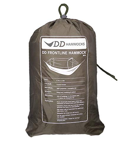 DD Frontline Hammock - Lightweight Camping, Jungle Hammock with Mosquito Net (Coyote Brown)