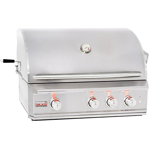 """Blaze BLZ-3PRO-LP Or BLZ-3PRO-NG 34 Inch Propane Or Natural Gas Built-In Grill with 3 H Burners Infrared Burner & Rotisserie Kit - With FREE Grill Cover (34"""" Natural Gas)"""