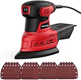 Mouse Detail Sander, Meterk 1.6A Random Orbit Sander with 20Pcs Sandpapers, 12500RPM Dust Collection System for Tight Spaces Sanding in Home Decoration and DIY Working