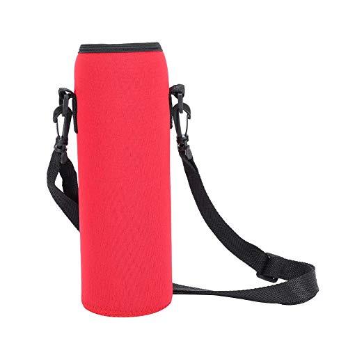 水筒ケース 水筒カバー ウォーターボトルカバー ネオプレン素材 肩掛け 保冷 保温 調節可能 携帯便利1000ML対応(レッド)