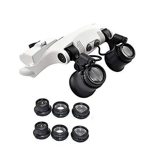 Portátil 10X 15X 20X 25X LED Doble Ojos Use Lupa Joyero Reloj Reloj Reparación Lupa
