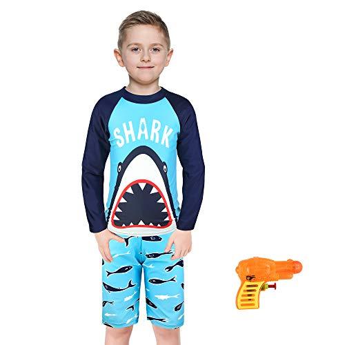 KeeFsion Jungen Rash Guard Badeanzug Beachwear Badeanzug Jungen Langarm Rash UV Sonnenschutz Bademode, Blau A, 5-6 Jahre (XXL)