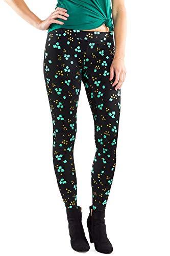 Women's Glitter Clover Cluster St. Patrick's Day Leggings - St. Paddy's Tights for Female