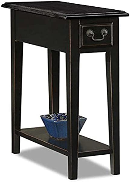 ModHaus Living Country Style Narrow Nightstand Rectangle Wooden Black Chair Side Table With Storage Drawer Includes Pen