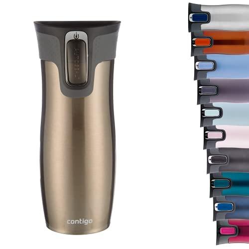 Contigo Thermobecher West Loop Autoseal, Edelstahl Isolierbecher, Reisebecher, Kaffebecher To Go, auslaufsicher, 100% dicht, hält bis zu 5h heiß/12h kalt, 470 ml, BPA frei, Latte