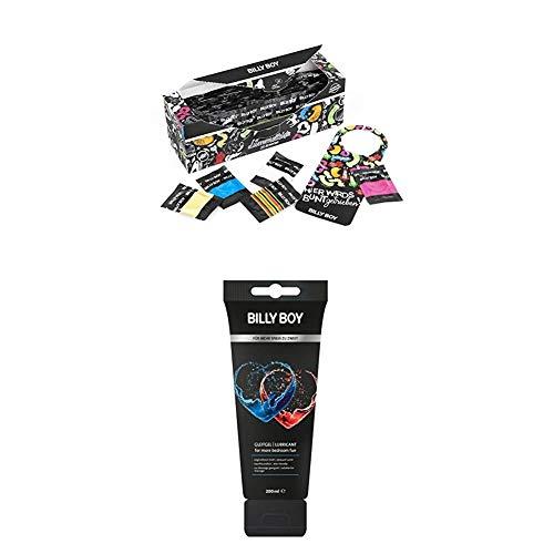 Billy Boy Lümmelkiste Kondome Mix-Sortiment, Farbige, Extra Feucht und Perlgenoppte, 50er Pack + Gleitgel Wasserbasiert mit Fruchtigen Duft, 200 ml