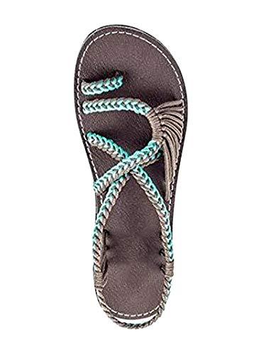 Damen Geflochtene Sandalen Sommer Gladiator Schuhe Casual Flachen Flip Flops Strand Zehentrenner Sandalen X Grün EU 41