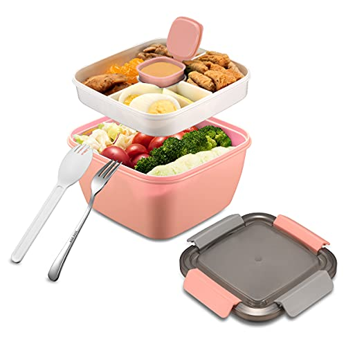 Salad Container for Lunch, Fuloskog Lunch Box Container 52 Oz with Salad Dressings Container To Go, 3 Compartment Trays for Adult, Men, Women, Snack, Salad Topping(Pink)