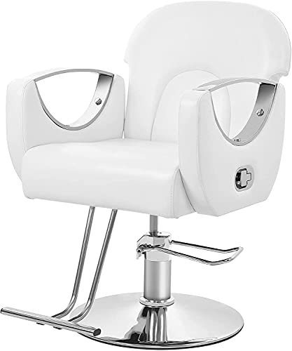 Poltrona da Barbiere (50-60 cm) Schienale regolabile Poltrona da Parrucchiere con Pompa Idraulica Sedia da Barbiere Bianca Salon Chair PU Pelle Barbie