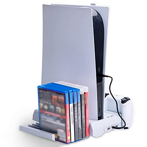 YDYBY Estación de Carga del Mando PS5 con Ventilador de Refrigeración e Soporte para Auriculares Soporte Vertical con Almacenamiento de 12 Discos de Juegos
