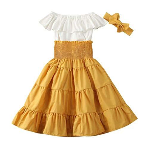 3pcs Toddler Baby Girl Boho Skirt Set Off Shoulder Ruffle Crop Tops Elastic Long Skirt Dress Summer Outfits Clothes(Yellow, 5-6Y)