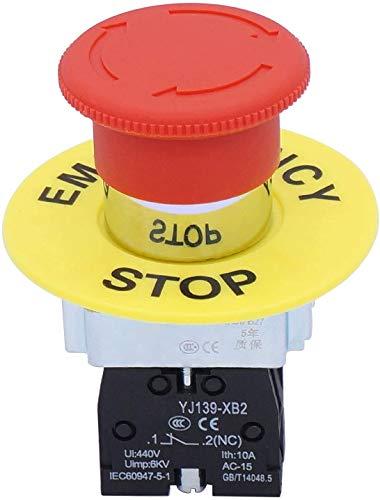 Taiss/22mm 1 NC SPST Action de Verrouillage Interrupteur à Bouton-poussoir D'arrêt D'urgence 10A 440V XB2-01ZS