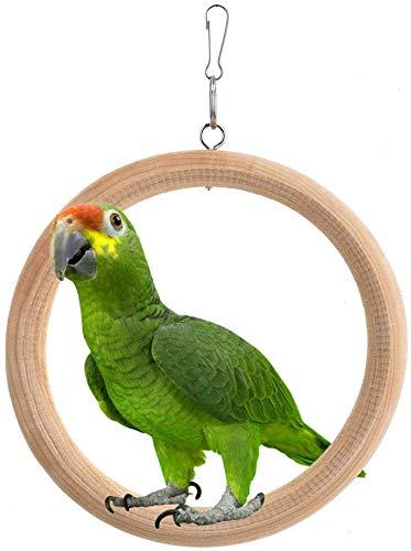 Sheens Forma de Anillo de Madera Natural Pájaro Perchas Columpios Juguete masticable Juguetes de Aves para el Bienestar físico psicológico de Sus Loros