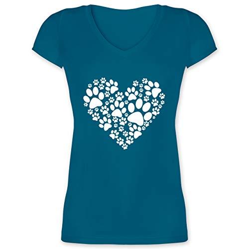 Statement - Pfoten Herz - 3XL - Türkis - hundemama Geschenk - XO1525 - Damen T-Shirt mit V-Ausschnitt