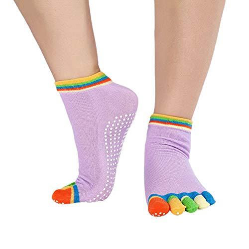 VIWIV Frauen Yoga Socken, Sport Bunte Slip Atmungsaktive Tanzschuhe Baumwollsocken, Tanz Yoga Pilates Übung Fitness Socken (2 Paar),2