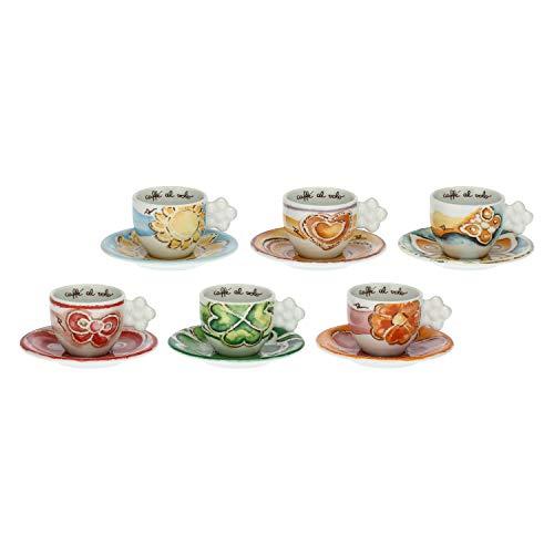 THUN - Set di 6 Tazzine Multicolore Decorate - da Abbinare a Zuccheriera - Accessori Cucina - Linea Happy - Porcellana - 100 ml, Ø 6 cm, 5 h cm, Piattino Ø 11,5 cm