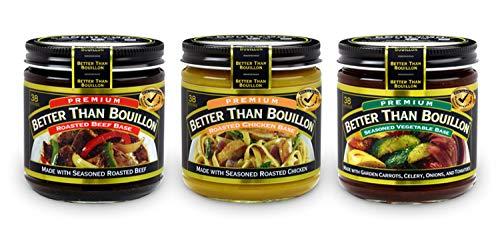 Better Than Bouillon Variety Pack- Beef Base, Chicken Base, Vegetable Base 8oz jars (3 Pack; 1 each)