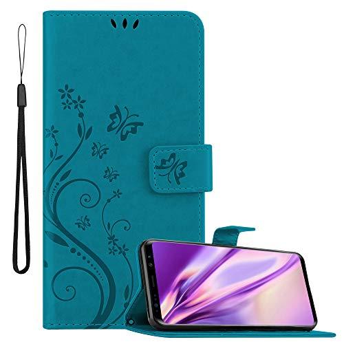 Cadorabo Funda Libro para Samsung Galaxy S9 Plus en Azul Floral – Cubierta Proteccíon en Diseño de Flor con Cierre Magnético, Función de Suporte e 3 Tarjeteros - Etui Case Cover Carcasa