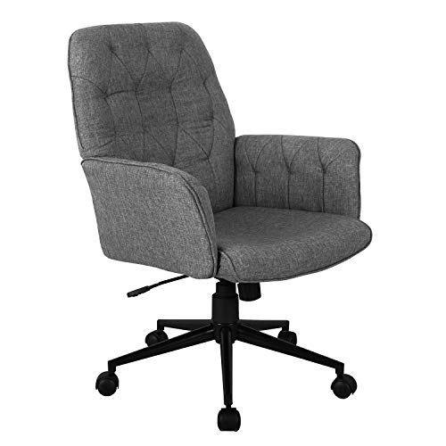 Techni Mobili Executive Modern Upholstered Tufted Office Chair with Arms, Regular, Grey