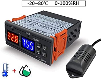 Color : 220v Pre-Wired Dual Stage Thermostat adn Humidistat for Mushroom Greenhouse Reptile Pet Supplies Temperature and Humidity Controller 12V