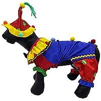 POPETPOP ペットピエロコスチューム面白い犬ハロウィンコスチューム帽子付き-クリスマス犬服小中大犬用-ペットコスプレ装飾