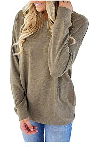 onlypuff Cute Bottom Shirts for Women Khaki Pockets T Shirt Solid Batwing Sleeve Tunic Tops M