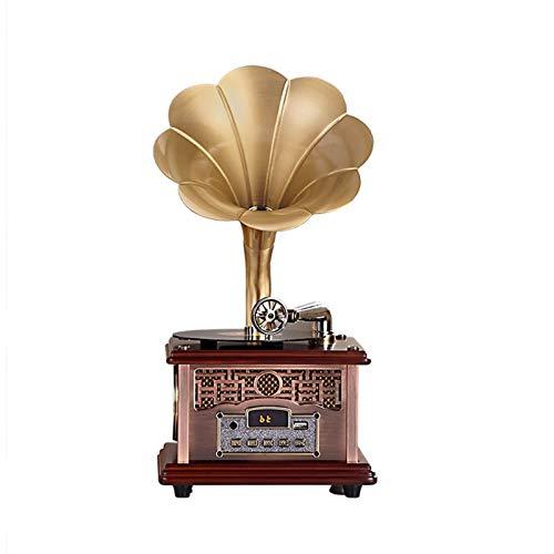 HMBB Giradischi Record Classico Retro Giradischi, fonografo Retro con Altoparlanti Wireless, Decorazione per Ufficio per Ufficio (Color : Rose Gold)