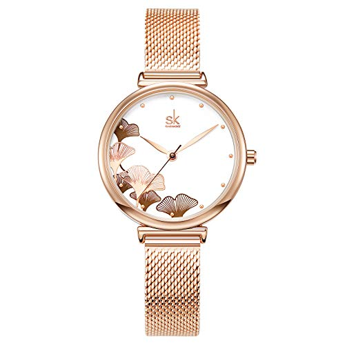 SK SHENGKE Female Mesh Watches Simple Face Stainless Steel Back Case Fashion Ladies Wristwatch (0139 Rose Gold)